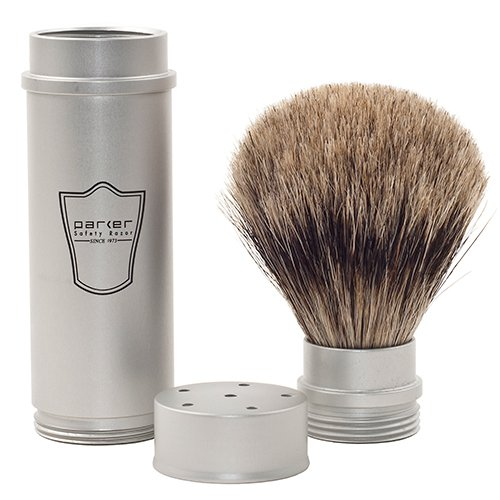 parker travel shave brush - badger hair - the wet shaving club