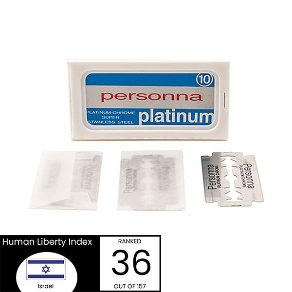 Personna Platinum Blue Safety Razor Blades - Israel