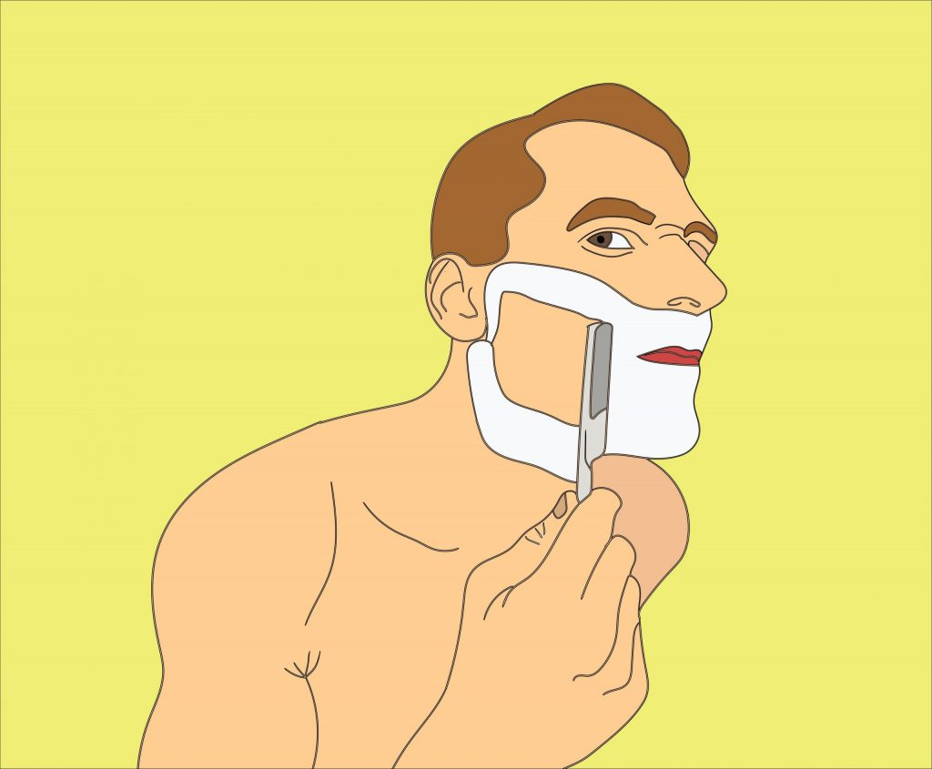 Wet shaving club cartoon shaving