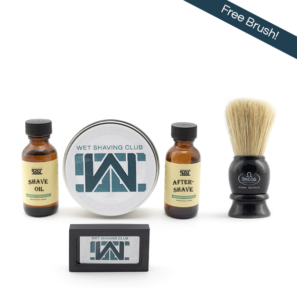 quarterly wet shave enthusiast with free brush callout