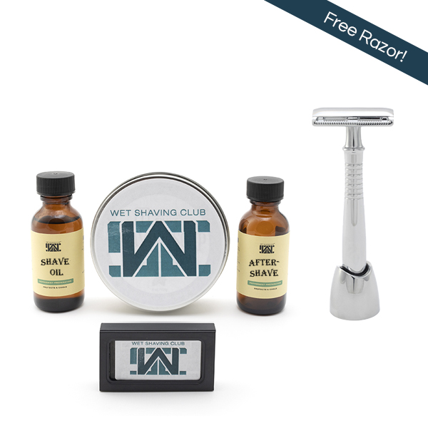 quarterly wet shave enthusiast with free razor callout