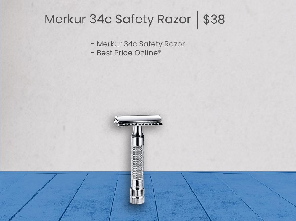 Merkur 34c Safety Razor -stand alone - Blue