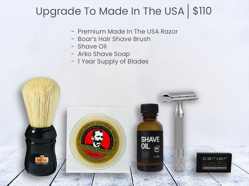 Add Made In The USA Bald Man Shave Deal- grey