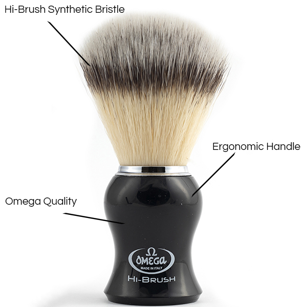 Hi-Brush Synthetic Shave Brush black Handle - Details - Omega Shave Brush - 600 x 600