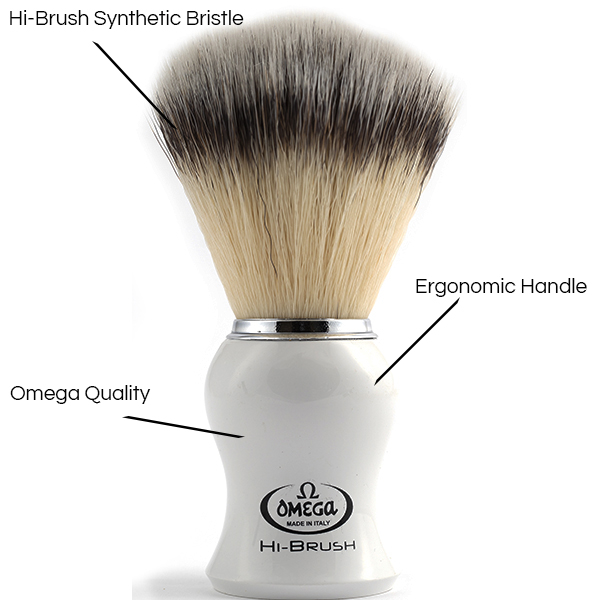 Hi-Brush Synthetic Shave Brush white Handle - Details - Omega Shave Brush - 600 x 600