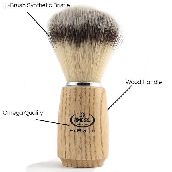 Hi-Brush Synthetic Shave Brush wood Handle - Details - Omega Shave Brush - 600 x 600
