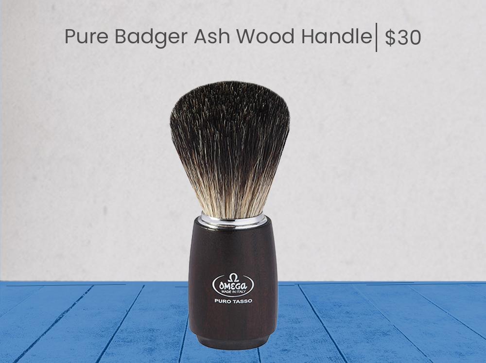 Omega Pure Badger Ash Wood Handle