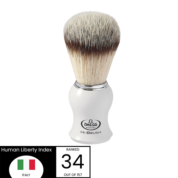 Omega Hi-Brush White Handle shave brush