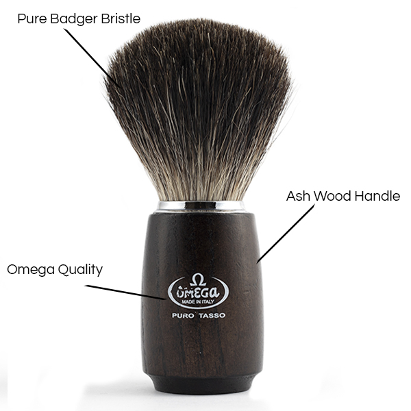 Pure Badger Shave Brush Ash Handle - Details - Omega Shave Brush - 600 x 600