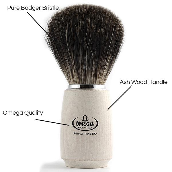 Pure Badger Shave Brush white wood Handle - Details - Omega Shave Brush - 600 x 600