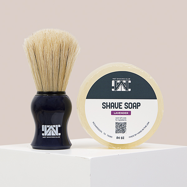 lavender shave soap puck and shave brush