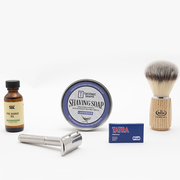 ladies safety razor shave kit with lavender shave soap