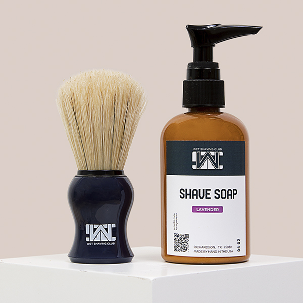 shave brush and pump soap