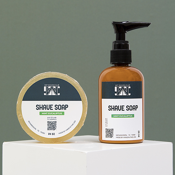 mint shave soap puck and pump