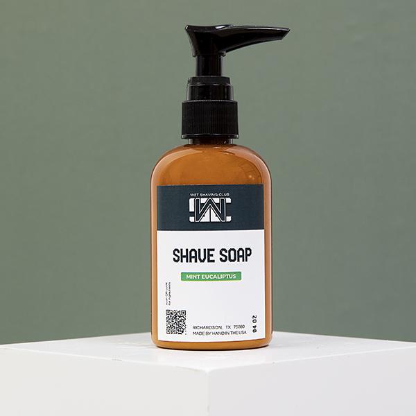 mint shave soap pump green