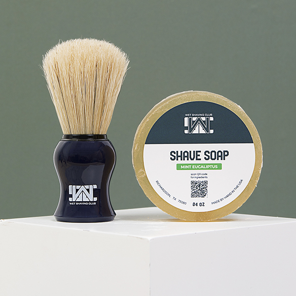 mint eucalyptus shave soap and shave brush