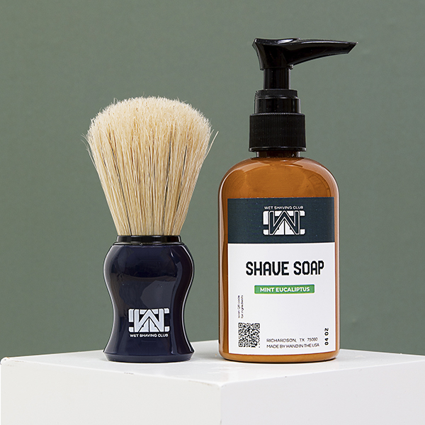 shave soap pump and shave brush